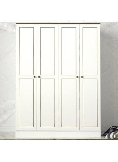 Dekorister Dekorister Exclusive Ravenna Aynalı 3 Kapılı Gardırop Beyaz
